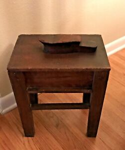 Vintage WOOD SHOE SHINE BOX with FOOT REST and REMOVABLE LID
