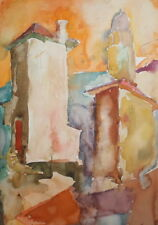 1975 WC PAINTING EXPRESSIONIST COMPOSITION LANDSCAPE CITYSCAPE SIGNED