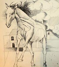 Vintage ink painting surrealist horse portrait