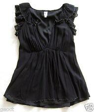 Black beaded silk v-neck top blouse shirt flutter sleeve party/evening sizeXS