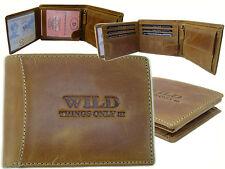Herren WILD Geldbörse Portmonee Portemonnaie Klappbörse Leder Bag Street Cognac