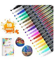 Wotek Acrylic Paint Marker 18 Colors Acrylic Paint Pens Draw On Rock, Wood, Glas