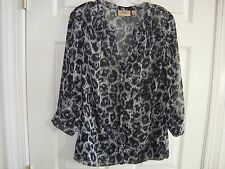 Motto Black/Gray Animal Print Button Front Blouse with Knit Tank Shell M EUC