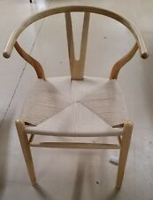 Set of 4 Hans Wegner Style Wishbone Dining Chair Chairs Wood w Rush Seat