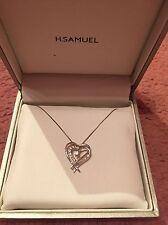 H Samuel 9ct White Gold Diamond Double Heart Pendant