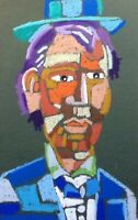 HINKLE Lincoln abstract portrait Oil pastel modern art painting cubism fauvism