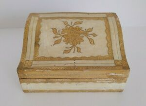 Vintage Made in Italy Florentine Gold & Cream Wood Box for Jewelry/Dresser/Desk