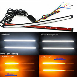 2pcs Switchback Flowing Car DRL LED Knight Rider Turn Signal Brake Lights Strip