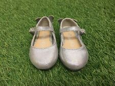Baby Girl NEXT Size 5 Silver Mary Jane Style Shoes With Butterfly Heels
