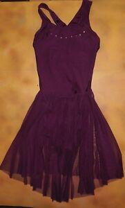 NWOT Burgundy Skate Lyrical Dress Mesh skirt Rhinestone trim CrissCross