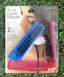 2-Pack Travel Compact Brush & Comb Foldable