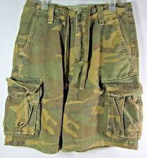 Abercrombie & Fitch Camo Cargo Shorts Zip Fly Men 31 HEAVY Distressed Adirondack