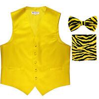 New Men's Formal Vest Tuxedo Waistcoat yellow ZEBRA Bowtie & Hankie set wedding