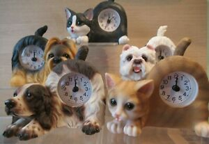 Best Of Breed Dog & Cat Shaped Mantel / Shelf Clocks with Moving Tail