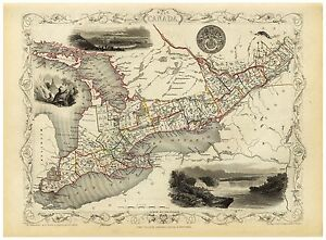 Old Vintage Map West Canada richly illustrated Tallis 1851