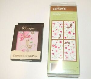 Girls nursery butterfly switch plate and flower and butterfly decals *BRAND NEW*