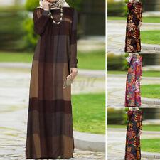 ZANZEA UK Womens Long Sleeve Casual Loose Abaya Muslim Kaftan Baggy Maxi Dress