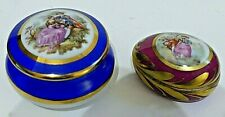 Limoges France 2 x Trinket Boxes Romantic Couple Decoration ~ Round & Egg Shape