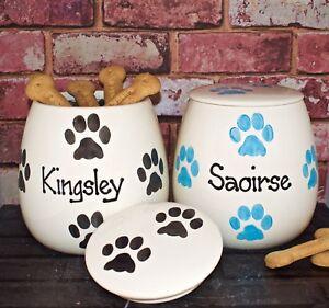 Large personalised ceramic dog canister hand painted dog treat jar treat holder