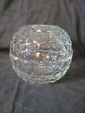Round Fairy Light Candle Holder -2 pc. Clear Reflecting Cut Glass - Homco Euc