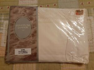 Vintage Coventry Manor White Queen Crocheted Edge Flat Sheet 100% Cotton