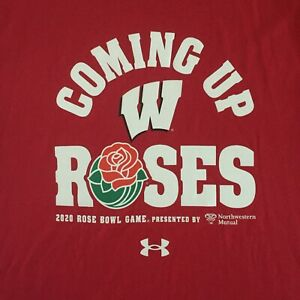 Under Armour 2020 Wisconsin Badgers Rose Bowl Shirt XL NWT Coming Up Roses