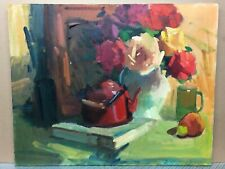 """Original Oil Painting Still Life Abstract With Flowers Pot Book Impasto 30x24"""""""