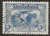 PRE-DECIMAL  1931  3d  BLUE   SIR CHARLES KINGSFORD SMITH   CTO & FULL GUM