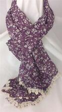 New Purple Floral Cotton and Lace Scarf 35cm x 150cm Country Classic Design
