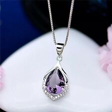 New Purple 925 Sterling Silver Pendant Necklace Chain Womens Jewellery Uk