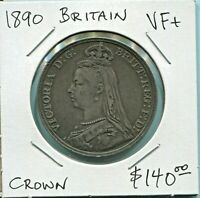 GREAT BRITAIN - BEAUTIFUL HISTORICAL QV SILVER CROWN, 1890, KM# 765