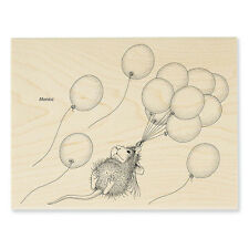 HOUSE MOUSE Balloons Helium Ride Wood Mounted Rubber Stamp Stampendous HMR93 NEW