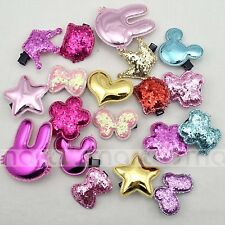 20PCS Mixed Designs Cartoon Sequin Hair Clips Accessories For Girls Babies 1 Set