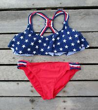 American Flag Bikini Swimsuit Two Piece Patriotic Stars Swimwear XL/ Large
