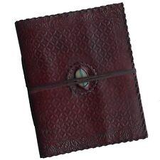 "Handmade 13"" Geometric Embossed Real Leather Photo Album Scrapbook TwoTone Stone"
