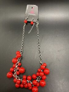 PAPARAZZI WALK THIS BROADWAY RED BEADS NECKLACE AND EARRING SET
