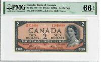 Canada $2 Dollar Banknote 1954 BC-30a PMG GEM UNC 66 EPQ - Devil's Face