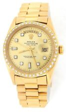 Mens Rolex Day Date President 18k Yellow Gold Watch Diamond Dial 1ct Bezel 1803