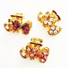 USA SELLER Hair Claw Rhinestone Crystal Hair Clip Hairpin PARTY pink Purple