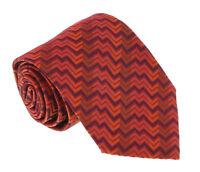 Missoni U5327 Orange/Red Chevron 100% Silk Tie