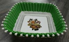 Vintage Basket Plastic Basket Green White Spring Flowers Tableware