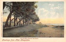 Rye Beach New Hampshire~Farragut Willows~Gazebo Boat House~1905 Hand Colored PC