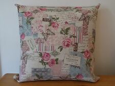 "Beautiful Handmade Vintage Style Cushion Cover Linen Look Canvas 16"" Shabby Chic"