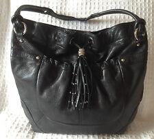 B.MAKOWSKY Black Pebbled Leather Hobo Handbag Purse Bag-Large-NICE