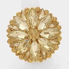"""1 1/2"""" Round Gold Tone Topaz Rhinestone Flower Stretch Ring"""
