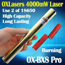 High Power 450nm Blue Laser Pointer Pen Military Light Beam Burn Match 4kmW