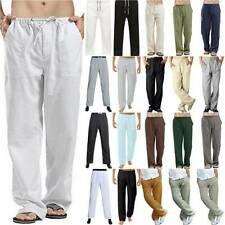 Men's Casual Baggy Harem Pants Linen Beach Summer Yoga Sports Trousers Plus Size