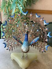 New listing Chinese Gilt Silver Filigree & Enamel Peacock on Stand Figurine