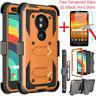 For Motorola Moto E5/Z3/Z4/G7 Play Power Armor Clip Holster Case+Tempered Glass