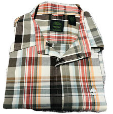 Timberland Short Sleeve Button Down Plaid Shirt  Brown Fall Color  Large